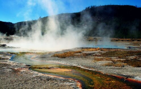 Watch the Old Faithful eruption in Yellowstone National Park