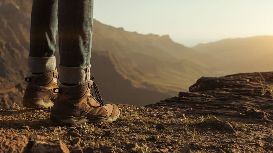 Hiking boots on mountain